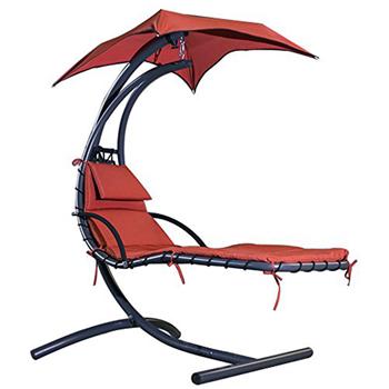 Merax Hammock chair Large 6 Point Umbrella Dream Chair Comfortable ChairChaise Lounge Slight Shake Like A Swing (Orange)