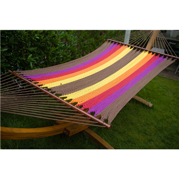 Merax Tropical Color Carribbean Outdoor Cotton Hammock with Lacquered Wooden Bar Merax Products
