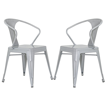 Merax Stackable Metal Chairs Steel Dining Side Chairs with Back, Set of 2 (Gray) Merax Products