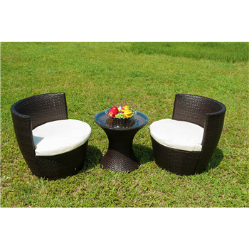 Merax Outdoor 3 Pcs Patio Furniture Table Chair Set with Cushion Wicker Outdoor Furniture Set Merax Products