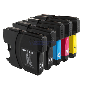 1 Set (5 Cartridges) Brother LC61 (LC 61, LC61BK, LC61C, LC61M, LC61Y) Compatible Inkjet Cartridge Combo : Two Black and One Each of Cyan, Magenta, Yellow