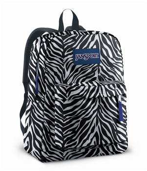 "JanSport Superbreak Backpack in White/Black Cosmo Zebra/Primal Purple - T501 7TN . (Dimension: 16.7"" x 13"" x 8.5""; Weight: 12oz)"